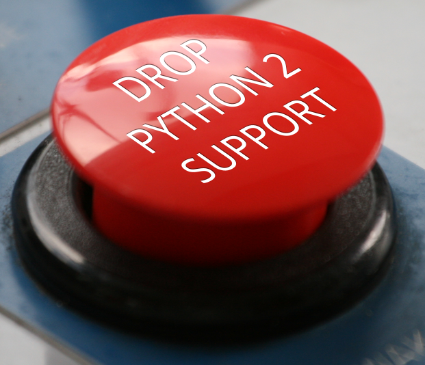 The same image, cropped to just the 'Drop Python 2 support' button.